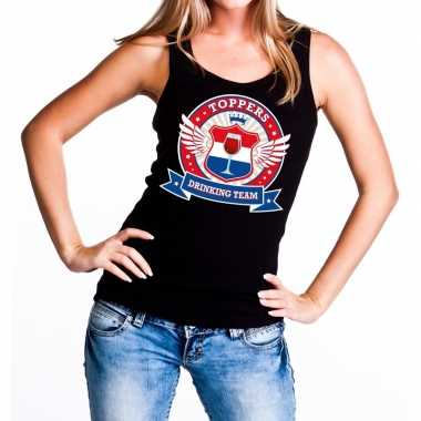 Toppers zwart toppers drinking team tanktop / mouwloos shirt dames