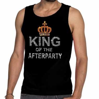 Toppers zwart toppers king of the afterparty glitter tanktop shirt he