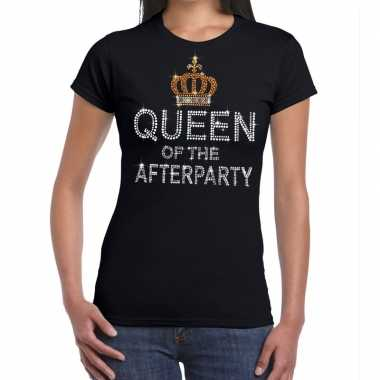 Toppers zwart toppers queen of the afterparty glitter t shirt dames