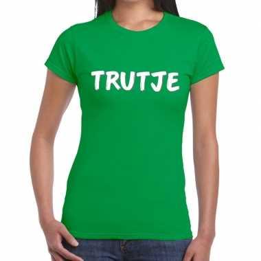 Trutje tekst t shirt groen dames