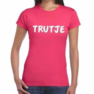 Trutje tekst t shirt roze dames