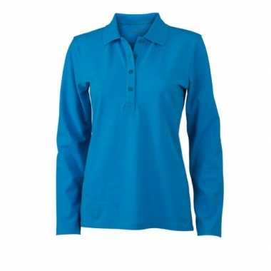 Turquoise stretch poloshirts dames