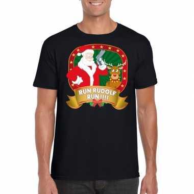 Ugly kerstmis shirt zwart run rudolf mannen