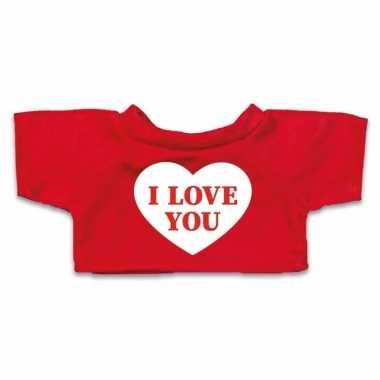 Valentijn knuffel kleding i love you hartje t shirt rood m clothies k