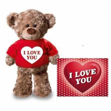 Valentijn valentijnskaart knuffelbeer 24 i love you rood shirt