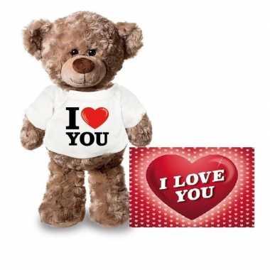 Valentijn valentijnskaart knuffelbeer 24 i love you shirt