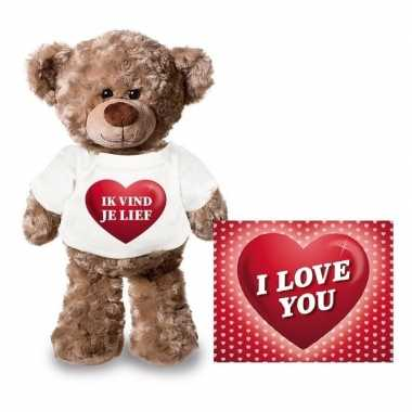 Valentijn valentijnskaart knuffelbeer 24 ik vind je lief shirt