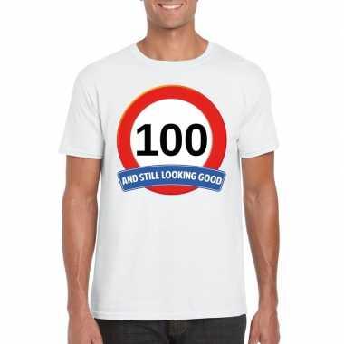 Verkeersbord 100 jaar t shirt wit volwassenen