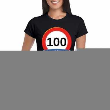 Verkeersbord 100 jaar t shirt zwart dames