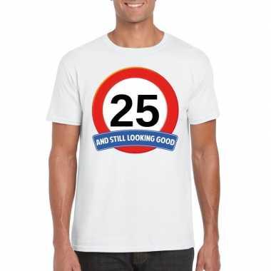 Verkeersbord 25 jaar t-shirt wit volwassenen