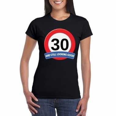 Verkeersbord 30 jaar t shirt zwart dames