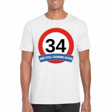 Verkeersbord 34 jaar t shirt wit heren