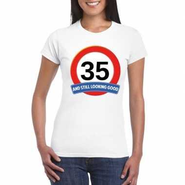 Verkeersbord 35 jaar t-shirt wit dames