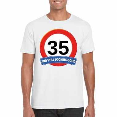 Verkeersbord 35 jaar t-shirt wit volwassenen