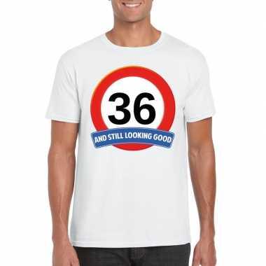 Verkeersbord 36 jaar t shirt wit heren