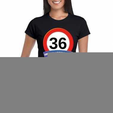 Verkeersbord 36 jaar t shirt zwart dames
