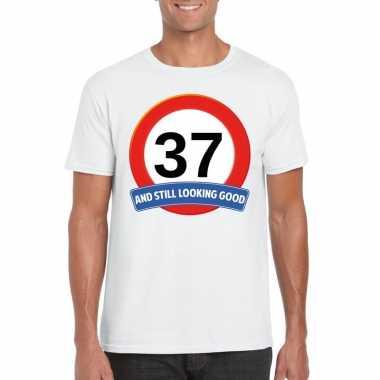 Verkeersbord 37 jaar t shirt wit heren
