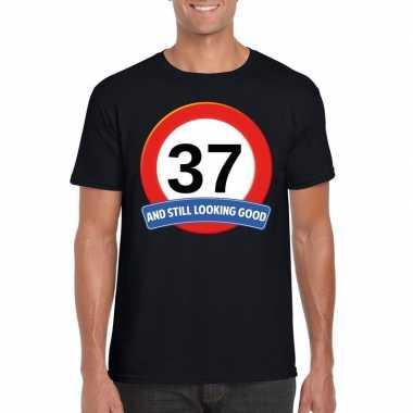 Verkeersbord 37 jaar t shirt zwart heren