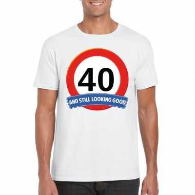 Verkeersbord 40 jaar t-shirt wit volwassenen