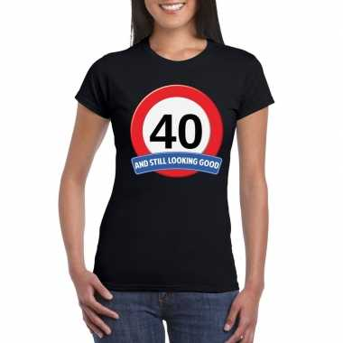 Verkeersbord 40 jaar t shirt zwart dames