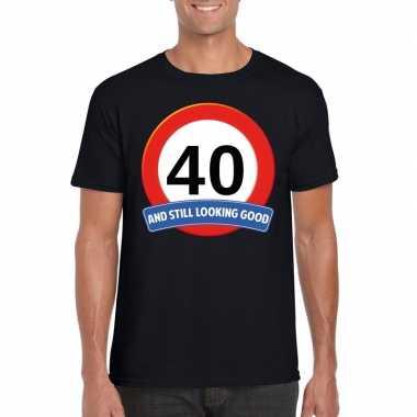 Verkeersbord 40 jaar t-shirt zwart volwassenen