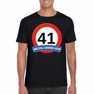 Verkeersbord 41 jaar t shirt zwart heren