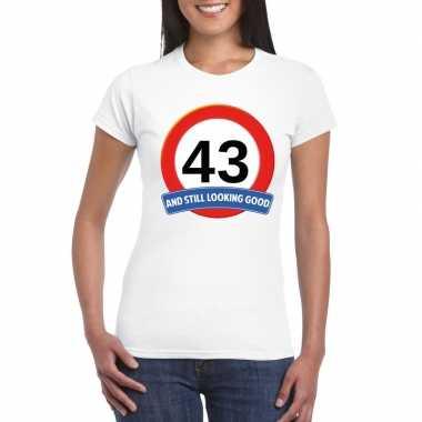 Verkeersbord 43 jaar t shirt wit dames
