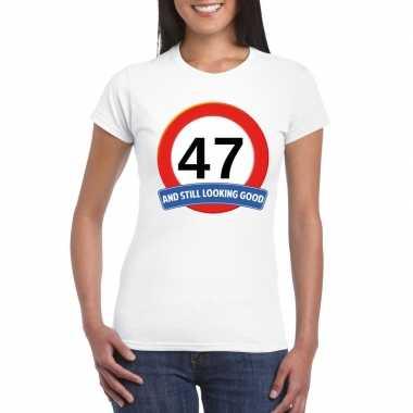 Verkeersbord 47 jaar t shirt wit dames