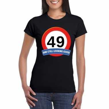 Verkeersbord 49 jaar t shirt zwart dames