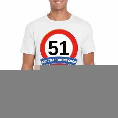 Verkeersbord 51 jaar t shirt wit heren