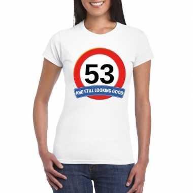 Verkeersbord 53 jaar t shirt wit dames