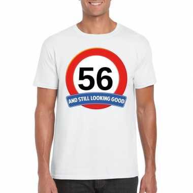 Verkeersbord 56 jaar t shirt wit heren