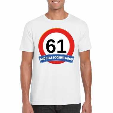Verkeersbord 61 jaar t shirt wit heren
