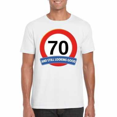 Verkeersbord 70 jaar t-shirt wit volwassenen