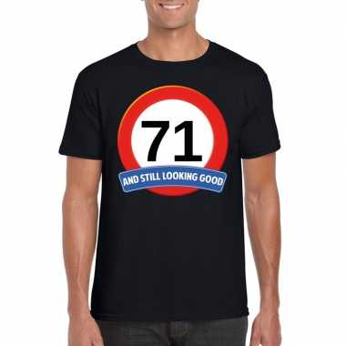 Verkeersbord 71 jaar t shirt zwart heren