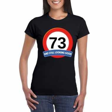 Verkeersbord 73 jaar t shirt zwart dames
