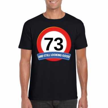 Verkeersbord 73 jaar t shirt zwart heren