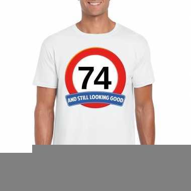 Verkeersbord 74 jaar t shirt wit heren
