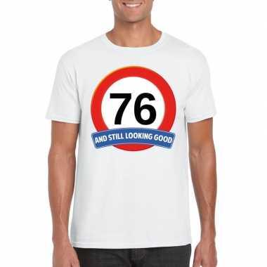 Verkeersbord 76 jaar t shirt wit heren