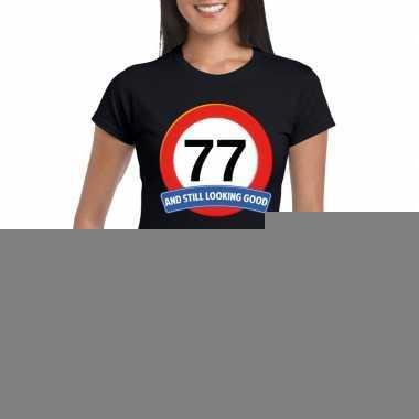 Verkeersbord 77 jaar t shirt zwart dames