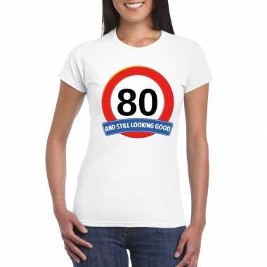 Verkeersbord 80 jaar t shirt wit dames