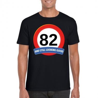 Verkeersbord 82 jaar t shirt zwart heren