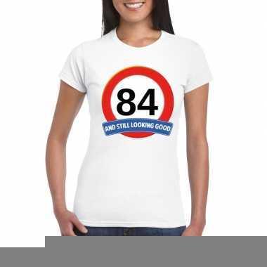 Verkeersbord 84 jaar t shirt wit dames