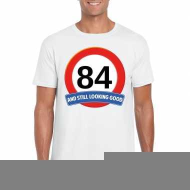 Verkeersbord 84 jaar t shirt wit heren