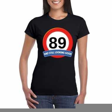 Verkeersbord 89 jaar t shirt zwart dames