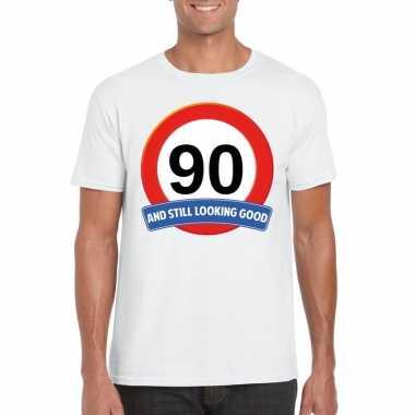 Verkeersbord 90 jaar t-shirt wit volwassenen