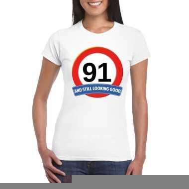 Verkeersbord 91 jaar t shirt wit dames