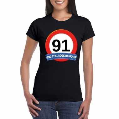 Verkeersbord 91 jaar t shirt zwart dames
