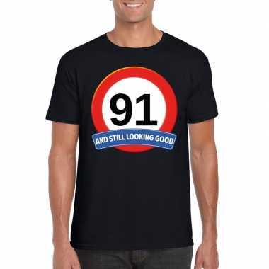 Verkeersbord 91 jaar t shirt zwart heren