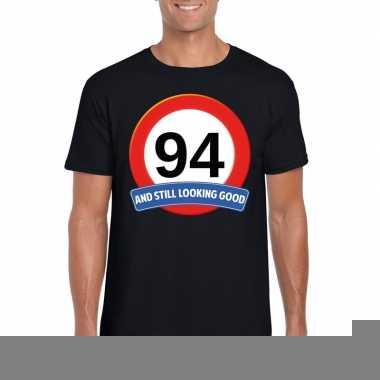 Verkeersbord 94 jaar t shirt zwart heren